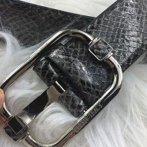 Ellen Tracy grey Snakeskin & silver leather belt L